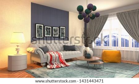 Interior of the living room. 3D illustration. #1431443471