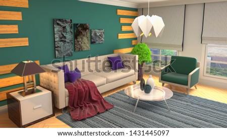 Interior of the living room. 3D illustration. #1431445097