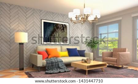 Interior of the living room. 3D illustration. #1431447710