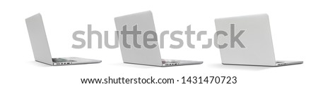 Set Back view Of the latest laptop Designed to be slim modren , isolated on white background with clipping path #1431470723