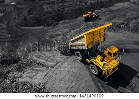 Open pit mine industry, big yellow mining truck for coal, top view aerial drone. #1431490109
