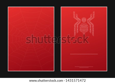 Invitation card template, spider icon with web on back side and copy space