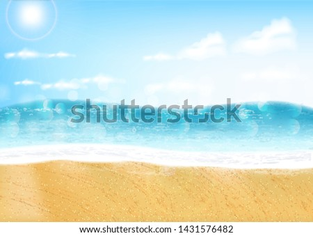 Summer background, hello summer, beautiful sea and sky realistic, seascape, realistic water vector illustration #1431576482