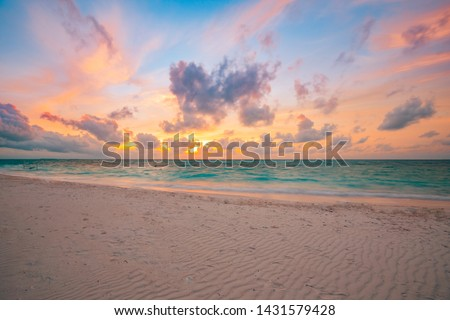 Sea sand sky concept, sunset colors clouds, horizon, horizontal background banner. Inspirational nature landscape, beautiful colors, wonderful scenery of tropical beach. Beach sunset, summer vacation #1431579428