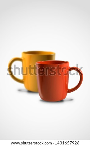 Red Orange Glossy Cup against white background, Coffee, Tea, caffeine Drink #1431657926