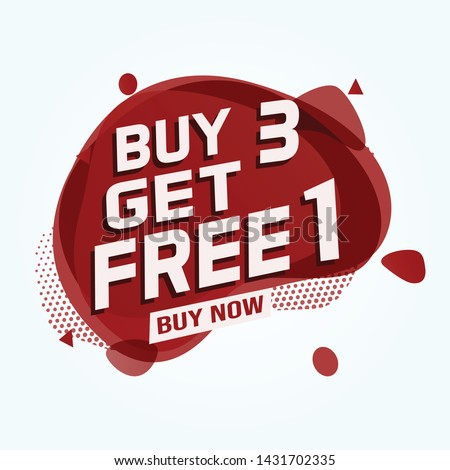 Buy 3 Get 1 Free sale tag. Banner design template for marketing. Special offer promotion or retail. white  background banner modern graphic design for store shop, online store, website, landing page #1431702335