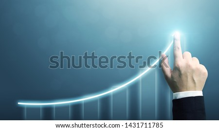 Business development to success and growing growth concept, Businessman pointing arrow graph corporate future growth plan #1431711785