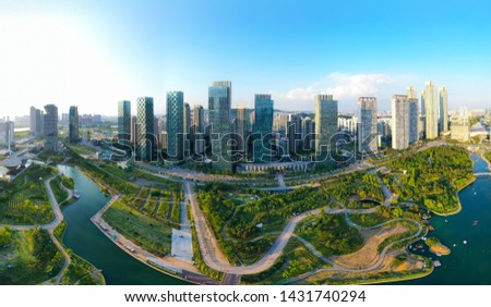 Aerial view of South Korea , 22 June 2018: Songdo Central Park in Songdo International Business District, Incheon City South Korea #1431740294