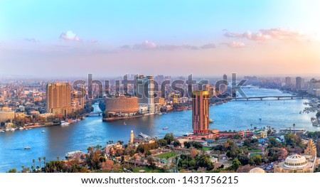 Cairo downtown, view of the Nile, the skyscrappers and the bridges, Egypt #1431756215