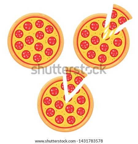 Pepperoni pizza icon set with slice. Simple cartoon style illustration.