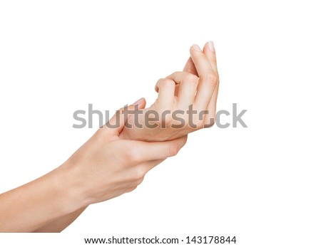 Women's hands picking - isolated on white background #143178844