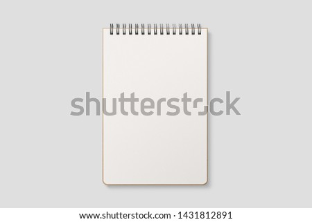 Real photo, blank spiral bound notepad mockup template with Kraft Paper cover, isolated on light grey background. High resolution. #1431812891