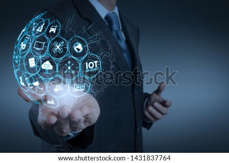 Internet of Things (IOT) technology with AR (Augmented Reality) on VR dashboard. business man with an open hand as showing something concept #1431837764