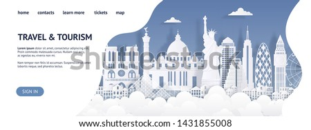 Travel and tourism landing page template. Modern paper cut landmarks web page. Travel the world website, vector skyline advertising card, Paris London Rome buildings silhouette #1431855008
