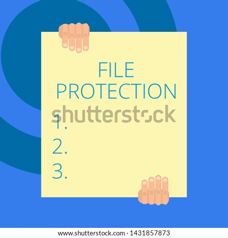 Writing note showing File Protection. Business photo showcasing Preventing accidental erasing of data using storage medium Two hands holding big blank rectangle up down Geometrical background.