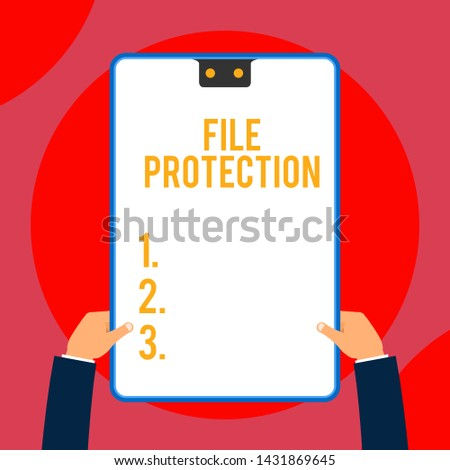 Text sign showing File Protection. Conceptual photo Preventing accidental erasing of data using storage medium Two executive male hands holding electronic device geometrical background.