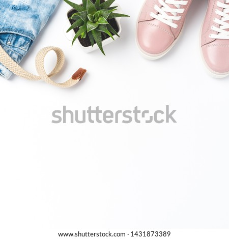 Set with women's outfit and copyspace. Flat lay #1431873389