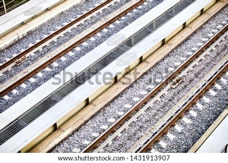 Railroad elements. Modern railways infrastructure. Railway transportation. railway transportation in the city. rails. Railroad tie. Straight Railways. #1431913907