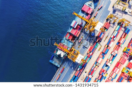 Logistics and transportation of Container Cargo ship and Cargo import/export and business logistics, Shipping , Top view ,Aerial view from drone Royalty-Free Stock Photo #1431934715