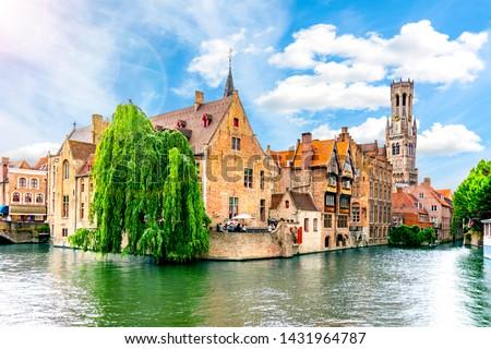 Rozenhoedkaai canal and Belfort tower, Bruges, Belgium #1431964787
