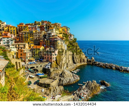 A close up view of the picturesque village of Manarola, Cinque Terre, Italy in summertime #1432014434