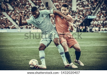 PORTO, PORTUGLAL - June 09, 2019: Denzel Dumfries and Raphael Guerreiro during the UEFA Nations League Finals match between national team Portugal and Netherlands at Estadio do Dragao, Portugal #1432020407