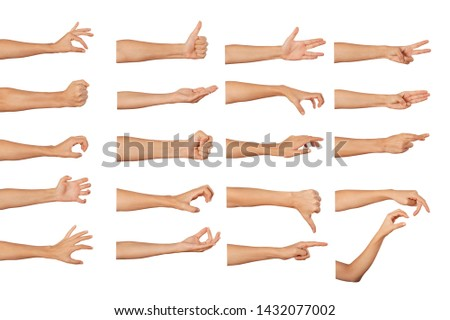 Set of woman's hand measuring invisible items #1432077002