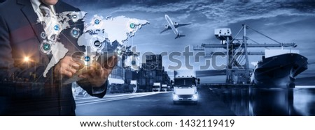 Multiple exposures of Businessman touching tablet for analyze stock at logistics port and world map with logistic network distribution on background, transportation trading business concept,  #1432119419