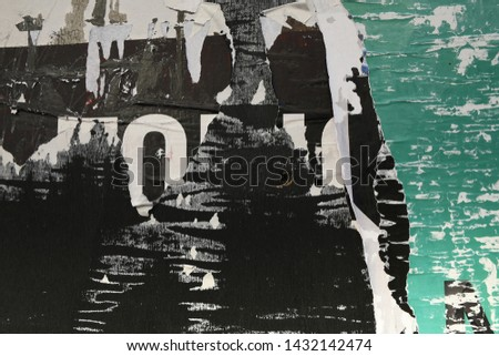 grungy scratched scuffed urban wall poster paper texture #1432142474