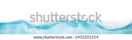 Wide web banner design of abstract blue water surface splitted by waterline to underwater and sky parts isolated on white background with foam on surface Royalty-Free Stock Photo #1432201214
