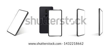 A collection of smartphones at different angles. Vector mockups. Collection mobile phones isolated on white background.  Mockup generic device. Vector smartphones set. 3D realistic phones, template  #1432218662