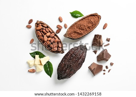 Composition with cocoa products on white background, top view Royalty-Free Stock Photo #1432269158