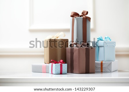 gift box on white table. colorful gifts box. Royalty-Free Stock Photo #143229307