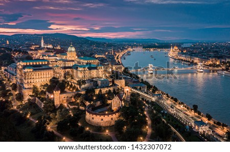 Budapest Hungary - Aerial panoramic skyline view of Budapest at sunset with Buda Castle Royal Palace, Szechenyi Chain Bridge, Parliament, Matthias Church over Danube river #1432307072