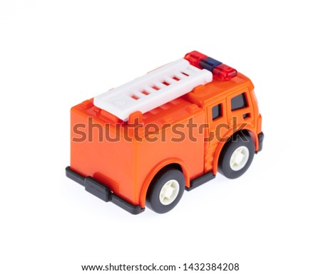 Toys Fire Truck isolated on a white background.