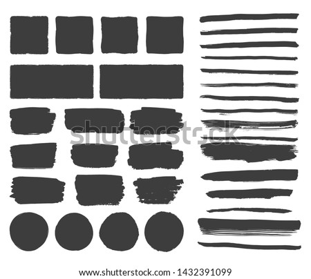 Black rough edge box. Brush background. Set of hand drawn lines. Ink stroke and text dividers. Royalty-Free Stock Photo #1432391099