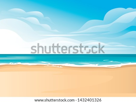 Tropical landscape of coast beautiful sea shore beach on good sunny day flat vector illustration #1432401326