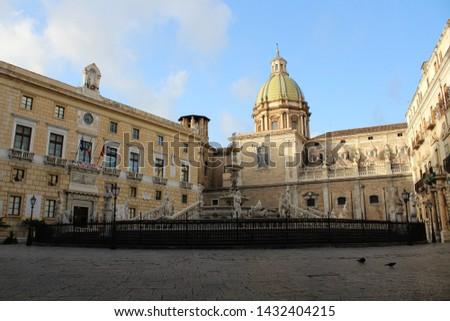 Panoramic view of Piazza Pretoria or Piazza della Vergogna, Palermo, Sicily #1432404215