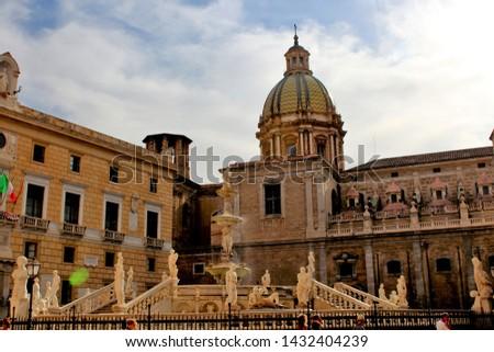 Panoramic view of Piazza Pretoria or Piazza della Vergogna, Palermo, Sicily #1432404239