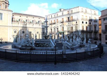 Panoramic view of Piazza Pretoria or Piazza della Vergogna, Palermo, Sicily #1432404242
