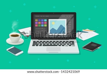 Photo or graphic editor on computer vector illustration, flat cartoon laptop screen with design or image editing software or program on workplace desktop table