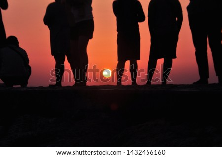 sunrise silhouette on Sanur beach #1432456160