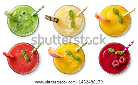 Set of various fresh fruit smoothies isolated on white background. Top view #1432488179