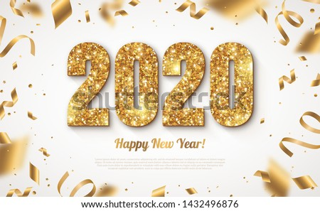 Happy New Year Banner with Gold 2020 Numbers on Bright Background with Flying Confetti and Streamers. Vector illustration #1432496876
