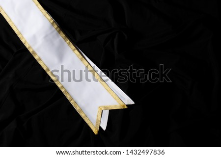 White Gold Winner Sash for Miss Pageant Beauty Contest, empty area for text winner country word, studio lighting abstract dark drapping textile background, Importance Decoration on shoulder to waist #1432497836