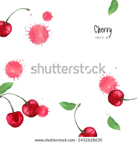 cherry fruit pink background. red cherry cute pattern creative template with copy space for design. flat lay, top view, layout copy space. Cherry watercolor illustration hand drawn. #1432628630