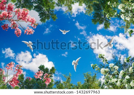 sky with tree branches and flying birds
