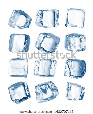 Set of pieces of pure blue natural crushed ice. Ice cubes. Clipping path for each cube included. #1432707113