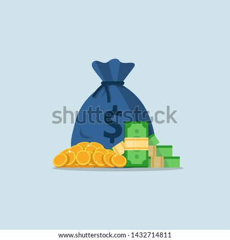 Money bag and gold coins,a pile of money #1432714811