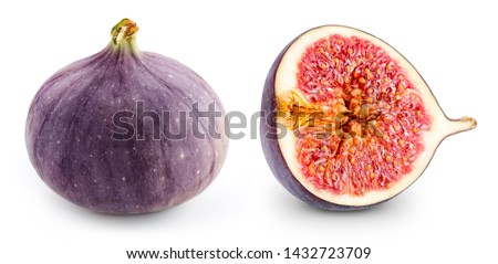 Juicy ripe fig on white background. Figs slice Clipping Path. Professional food photography #1432723709